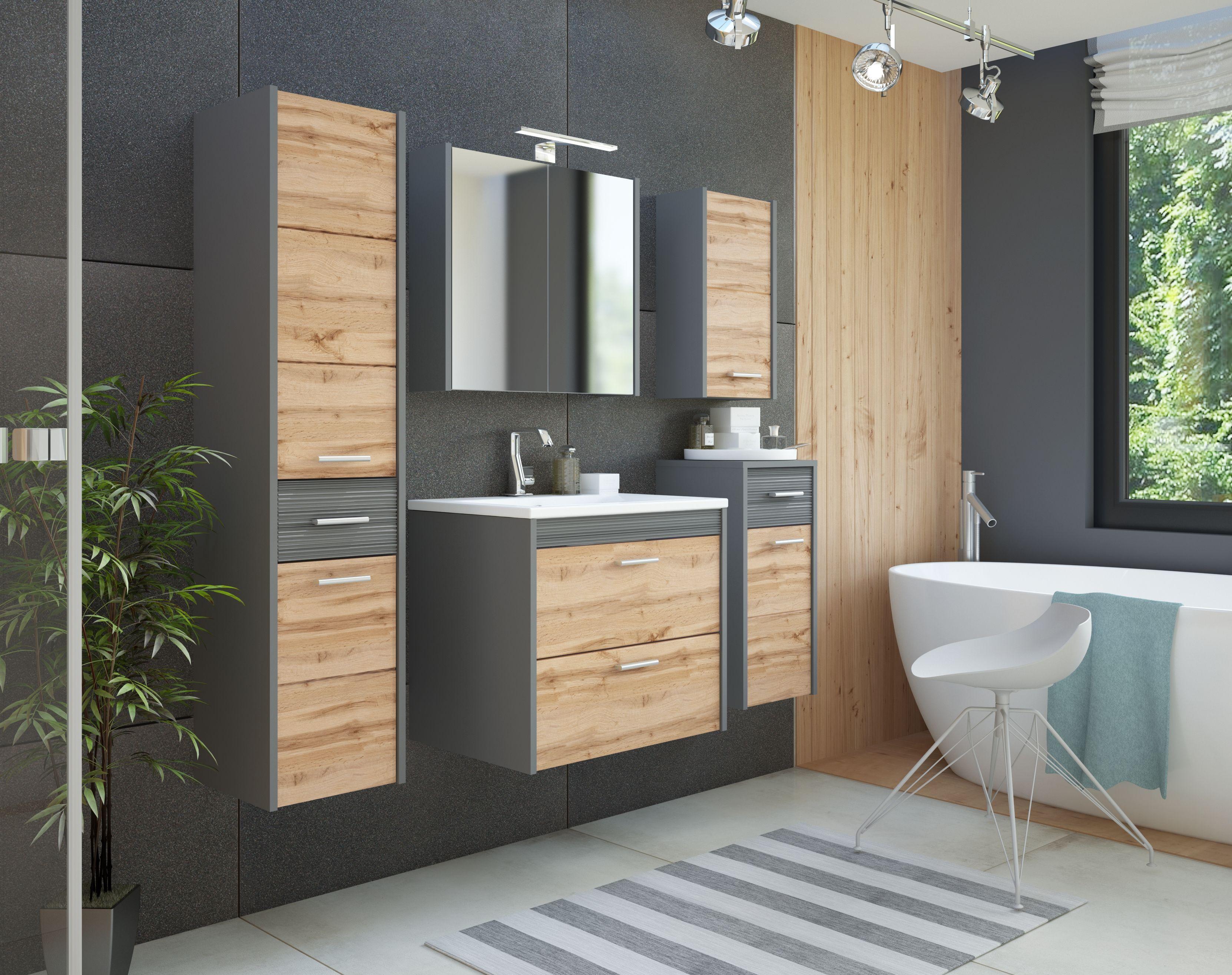 Fürdőszoba bútor -szürke - EIVISSA ANTHRACITE