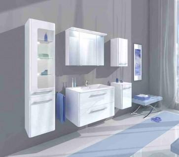 Fehér, magasfényű fürdőszoba szett (6 részes) – Glen (80)