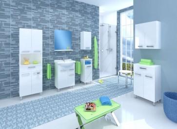 Magasfényű fehér bútorszett fürdőszobába (7 részes) – Lupo 45