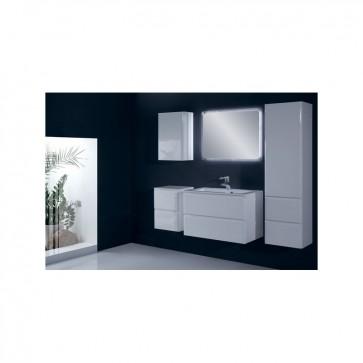 Fehér, magasfényű fürdőszoba bútor szett (6 részes) – Málta 80