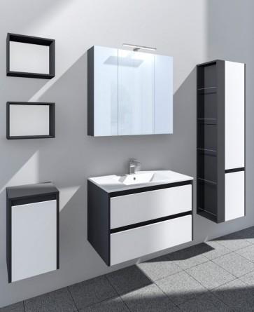 Grafit és fényes fehér fürdőszoba bútorszett (6 részes) – Natur 80