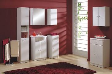 Fehér magasfényű 9 részes fürdőszoba bútorszett – Szamba 85