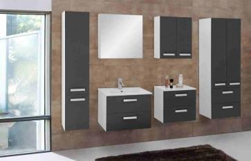 Szürke és fehér magasfényű fürdőszoba bútorszett (7 részes) – Velence szürke 80