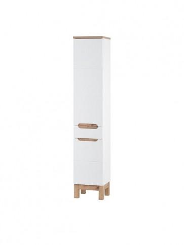 Magas szekrény fürdőszobába - fehér - 35 2D1S - BARI