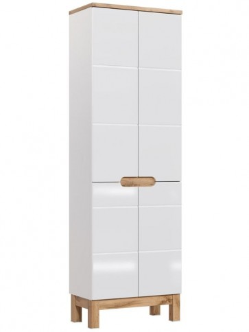 Magas szekrény fürdőszobába - fehér 4D - BARI