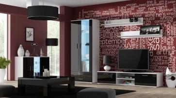 Modern nappali szekrénysor fehér / fekete