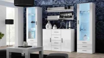Matt fehér / fényes fehér modern nappalibútor