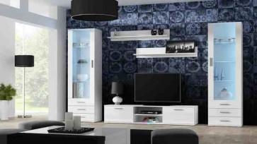 Matt fehér / fényes fehér modern nappali szekrénysor