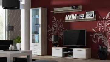 Matt sanoma tölgy / fényes fehér modern szekrénysor