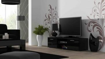 Trendi magasfényű TV állvány fekete / fekete