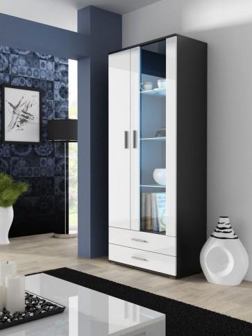 Modern magasfényű szekrény fekete / fehér