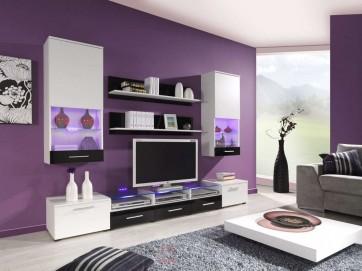 1 - matt fehér/fényes fehér+fényes fekete nappali szekrénysor - CURTIS II