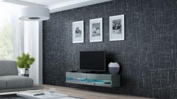 Stílusos TV állvány matt szürke / fényes szürke