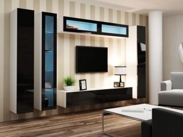 Modern nappaliszekrény - fehér / fekete