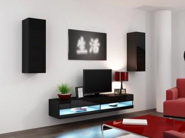1.  matt fekete / fényes fekete VIRAL new X. nappali szekrénysor