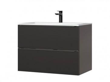 Szekrény mosdóhoz fürdőszobába 80 - 2S – fehér - CAPRICE BLACK - mosdóval és csappal