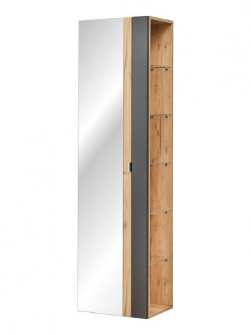 Magas tükrös szekrény fürdőszobába 45 - 1D – fehér - CAPRICE BLACK
