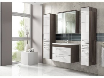 Stílusos fürdőszoba bútor szett (60), barna és fehér - Cosmos II.