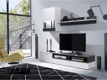 Nappali bútor - PATRIK fehér-zöld színvariáció (2)