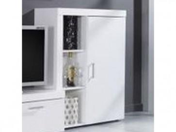 Stílusos szekrény kicsi 1 zárt ajtóval és 2 polccal - Rumba (Reg.3) fehér-fehér