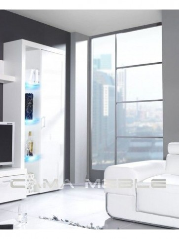 Stílusos állószekrény 1 zárt ajtóval és 3 üvegpolccal - Rumba (Reg.2) fehér-fehér