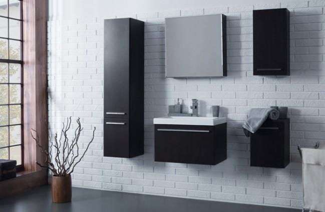Teljes fürdőszobabútor szett, mosdókagylóval, DIÓ színben (60 cm ...