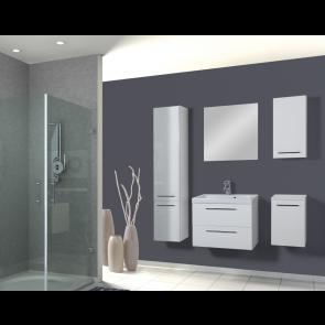 Fehér, magasfényű fürdőszobabútor szett (6 részes) – Léna 80