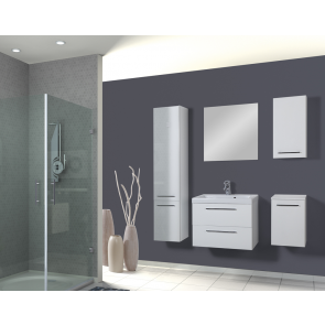 Fehér, magasfényű fürdőszoba bútor szett (6 részes) – Léna 100