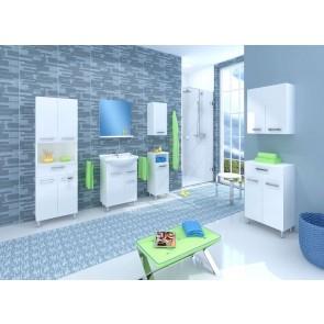 Magasfényű, fehér fürdőszoba bútorszett (7 részes) – Lupo 65