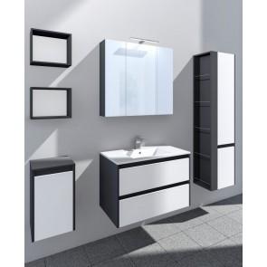Grafit és fényes fehér fürdőszoba bútorszett (6 részes) – Natur 60