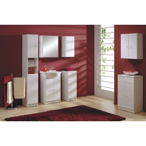 Fehér magasfényű 9 részes fürdőszoba bútor szett – Szamba 50