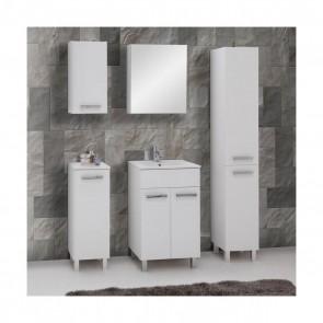Fehér magasfényű fürdőszoba bútorszett (6 részes) – Sol fehér 50