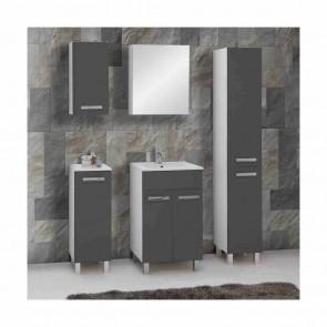 Szürke magasfényű fürdőszoba bútorszett (6 részes) – Sol szürke 50