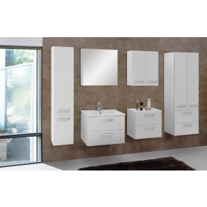 Fehér magasfényű fürdőszobabútor szett (7 részes) – Velence fehér 60