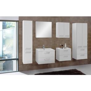 Fehér magasfényű fürdőszoba bútor szett (7 részes) – Velence fehér 80