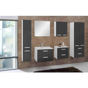 Szürke-fehér magasfényű fürdőszobabútor szett (7 részes) – Velence szürke 60