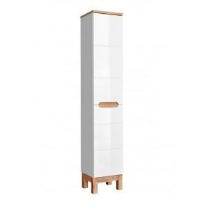 Magas szekrény szennyestartóval fürdőszobába - fehér 35-2D - BARI