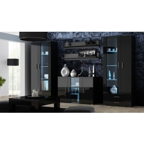 Modern nappali szekrénysor fekete / fekete