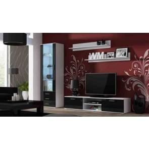 Matt fehér / fényes fekete modern nappalibútor szett
