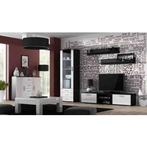 Matt fekete / fényes fehér modern nappalibútor szett