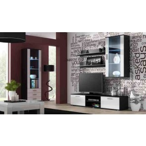 Matt fekete / fényes fehér modern nappalibútor