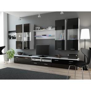 1- matt fehér/ fényes fekete DEAR I . nappali szekrénysor