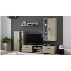Sanoma tölgy - szürke modern nappali szekrénysor