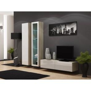 Matt sonoma tölgy / fényes fehér modern nappali szekrénysor