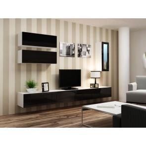 Matt fehér / fényes fekete modern nappali szekrénysor