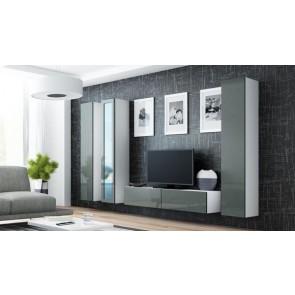 Matt fehér / fényes szürke modern nappali szekrénysor