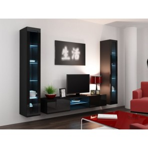 Matt fekete / fényes fekete modern nappalibútor