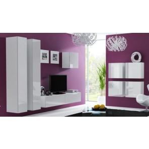 Matt fehér / fényes fehér modern nappali bútor szett