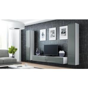 Matt fehér / fényes szürke modern nappalibútor