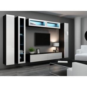 Matt fekete / fényes fehér modern nappaliszekrénysor